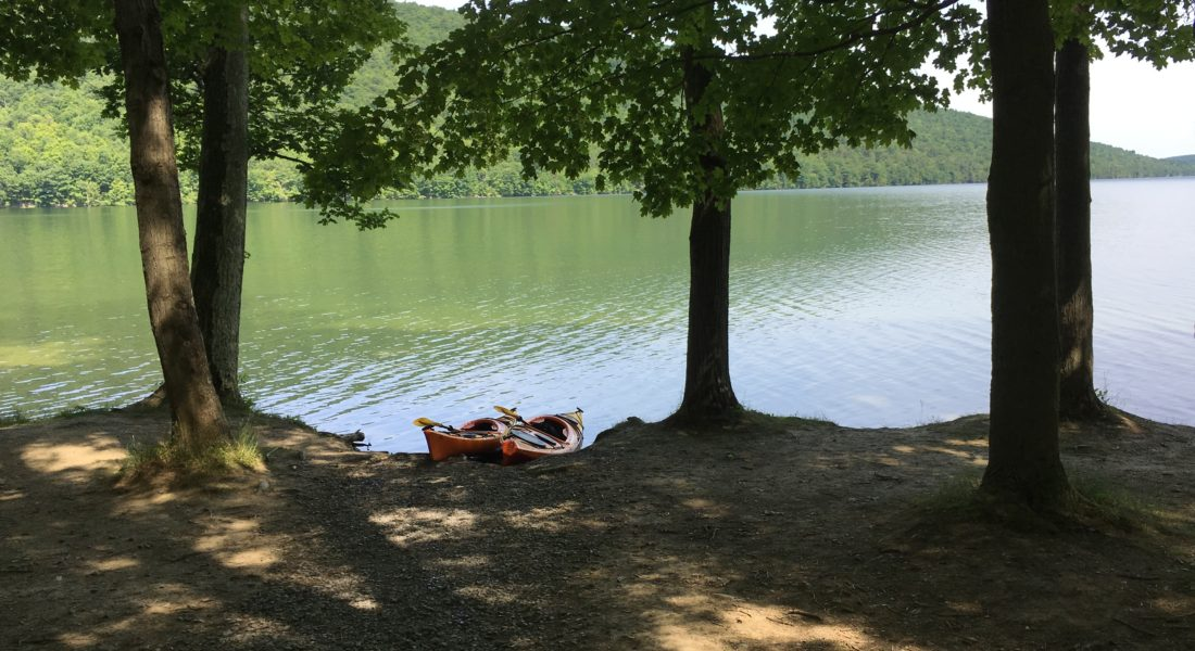 Two kayaks on Canadice Lake