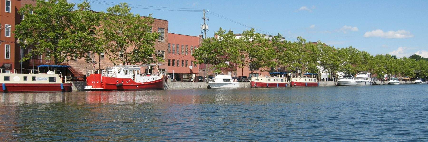 Seneca Falls Public Docks with canal barges